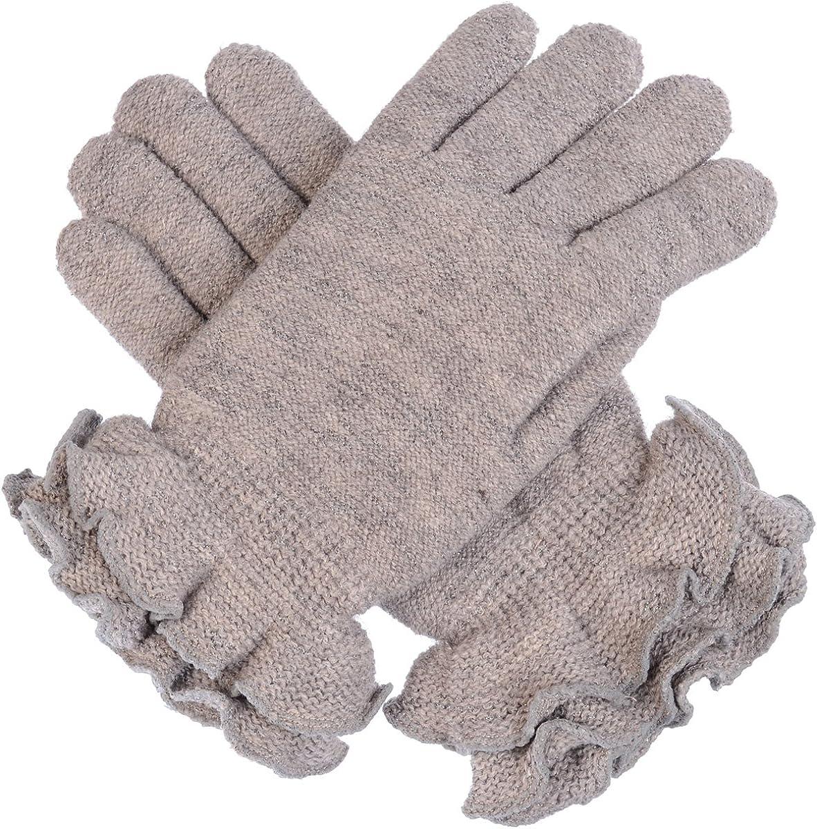 BYOS Women's Winter Cozy Plush Faux Fur Fleece Lined Knit Gloves W/Decorated Cuff