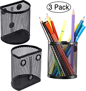Zonon Magnetic Pencil Holder Set of 3, Mesh Storage Baskets with Magnets to Hold Whiteboard, Locker Accessories, Black (3 Pack)