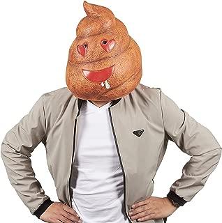 Poop Emoji Head Mask - Poop Mask for Halloween Costume, Photo Booth Prop, Heart Eyes Brown