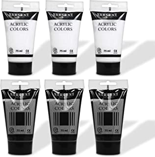 Sargent Art 6ct Black and White Acrylic Tube Paints , Set-75 ml Beginner to Artist, for Canvas, Wood, Crafts, Students, As...