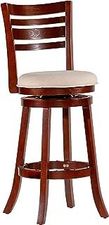 """DTY Indoor Living Granby 4-Slat Back Upholstered Swivel Stool, 30"""" Bar Stool, Cherry Finish, Beige Upholstered Seat"""