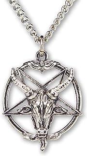 Real Metal Baphomet Satanic Goat Head Inverted Pentagram Silver Finish One inch Pendant Necklace