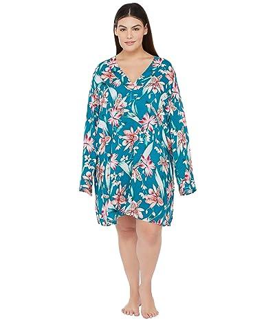La Blanca Plus Size Flyaway Orchid V-Neck Tunic Swimsuit Cover-Up (Caribbean Current) Women