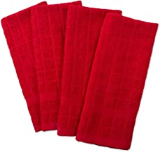 """DII Cotton Terry Windowpane Dish Towels, 16 x 26"""" Set of 4, Machine Washable and Ultra Absorbent Kitchen Bar Towels-Solid Red"""
