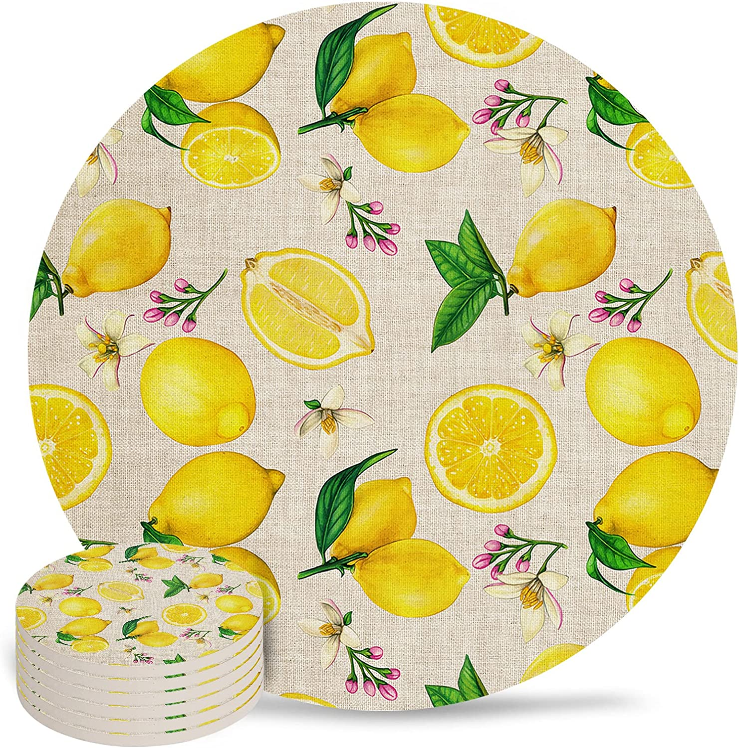 Max 49% OFF Tropical Fruits Popular shop is the lowest price challenge Lemon on Retro Krafy A Drink Paper for Coasters