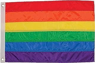 In the Breeze 3610 Rainbow Stripe Grommet 12 x 18 Inch Flag, Applique, 12