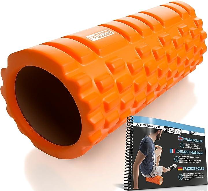 Foam roller - rullo massaggiatore indeformabile per trigger point therapy - automassaggio muscolare a rilascio 2015-FN-FRB-ORG