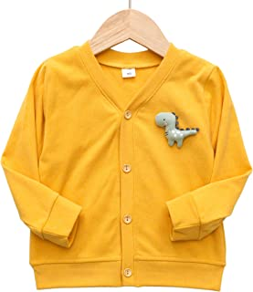Kihatwin Baby Boys Toddler Girls Button-Down Cardigan Cotton Knit Dinosaur Fall Outfits