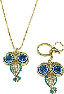 Owl Necklaces Pendants and Owl Key chain (2-in-1) Fashion Charms Rhinestone, Cute blue Eye Diamond Crystal Big Owl Necklac...