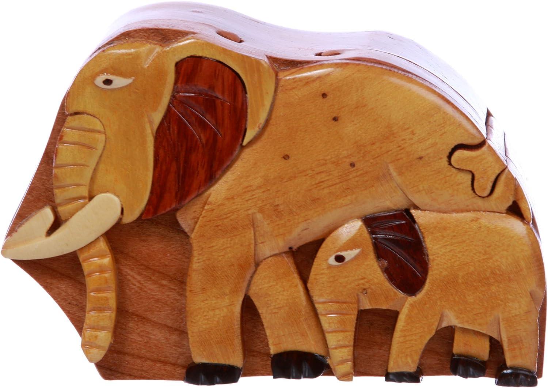Handcrafted Wooden Animal Shape Secret Jewelry Puzzle Box - Elephants