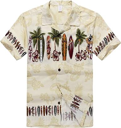 Hombres Aloha camisa hawaiana en Tabla de surf Cruz en crema