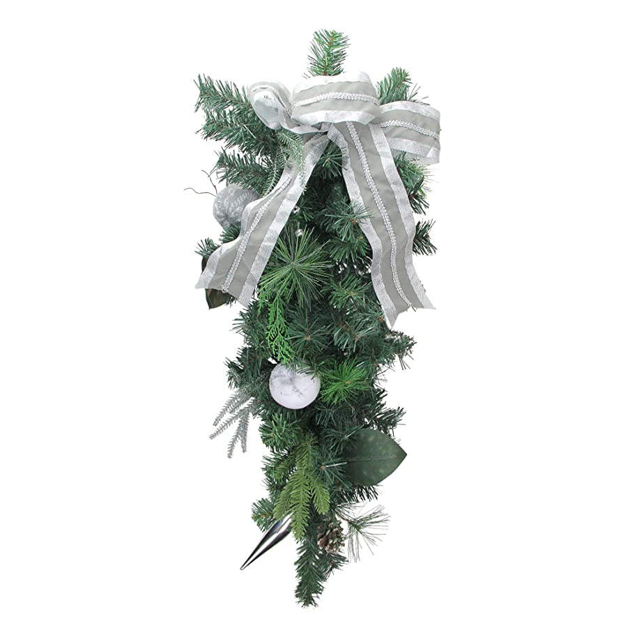 "Northlight 32"" Silver Bow and Pine Cone Artificial Christmas Teardrop Swag – Unlit"