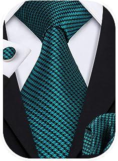 Barry.Wang Formal Men Ties,Silk Necktie Set with Handkerchief Cufflink Wedding Business
