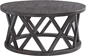 Signature Design by Ashley - Sharzane Round Sofa Table, Grayish Brown