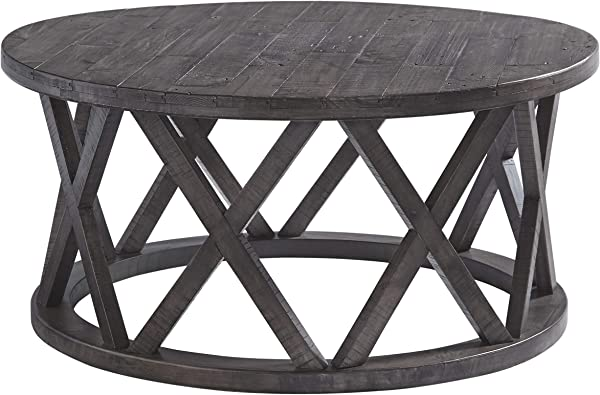Signature Design By Ashley T711 8 Sharzane Round Cocktail Table Grayish Brown