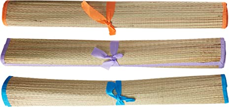 Beach Classic Straw Beach Mat - 3 Pack - Quick-Drying, Rollable Outdoor Mats for Summer, Camping, Yoga, Picnic, Sunbathing - Portable, Water-Repellant - Protection Against Sand, Dirt - 24 x 72 Inch