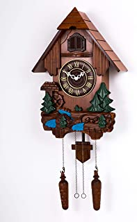 Polaris Clocks Cuckoo Clock in German Style with Night Mode Option (Multi Color, Water Mill-2)