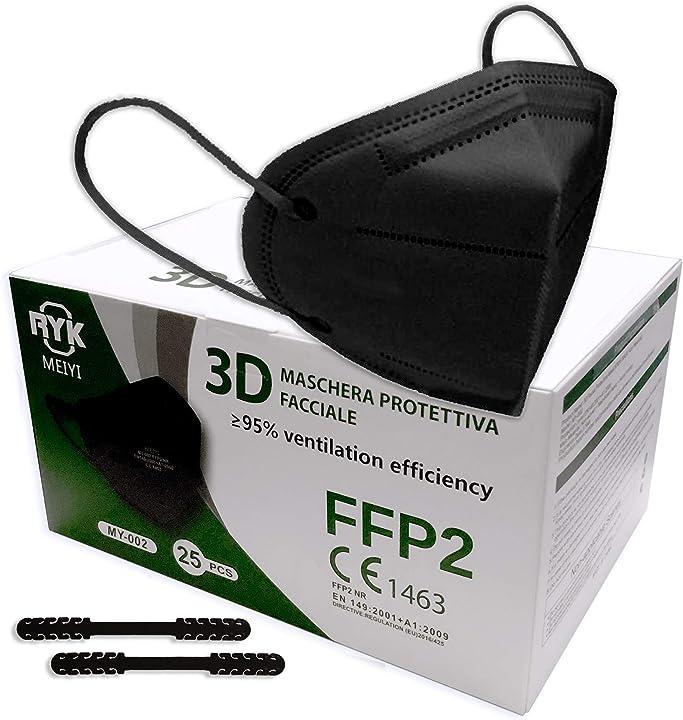 Mascherine ffp2 certificate ce 1463 bfe?95 mascherina dpi conforme en 149:2001+a1:2009 25 pezzi  nere RYK-BL-25PZ