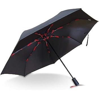 【Amazon.co.jp 限定】マブ 折りたたみ傘(自動開閉) メンズ ブラック×レッド 大きい 58cm 軽量 7本骨 360g じょうぶ な グラスファイバー (シャフトが飛び出さない安全構造骨採用)