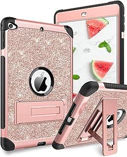 YINLAI iPad Mini 5 Case, iPad Mini 4 Case,3 in1 Durable Sturdy Kickstand Full Body Protective Shockproof Girly Women Kids Tab Cover Case for iPad Mini 5/4th Generation 2019/2015, Rose Gold Glitters