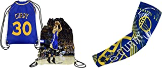 Forever Fanatics Golden State Curry #30 Basketball Fan Gift Set ✓ Curry #30 Picture Drawstring Backpack & Matching Compression Shooter Arm Sleeve