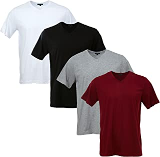 V Neck T Shirts 4 Packs Slim Fit Lightweight Cotton Tee Unisex Men Women 4 Colors Mixed