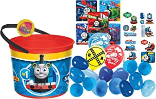 Thomas The Train Toddler Sized Easter Egg Loot Bucket & 12 Blue Toy-Filled Easter Eggs! Plus Egg Hunting Easter Button!