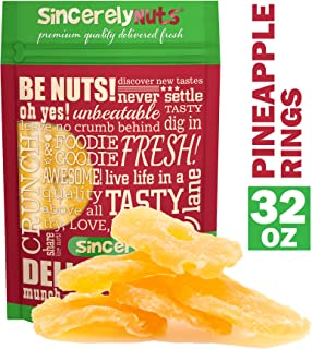 Sincerely Nuts - Dried Pineapple Rings (Sweetened)   Two Lb. Bag   Dehydrated Fruit Snack   Kosher, Vegan, Gluten Free   Healthy Gourmet Food   Natural Dry Fruits   Delicious Tropical Taste