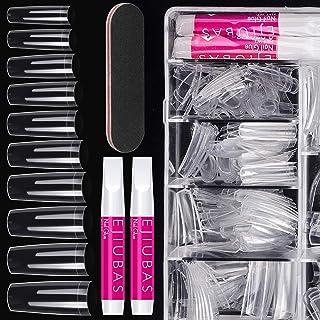 جعبه ناخن جعلی ناخن های اکریلیک - Ejiubas Press On Nails Set 500PCS Coffin Tips Nail Clear Half Cover Nail False Set 4PCS Nail Glues 1PC Nail File With Case