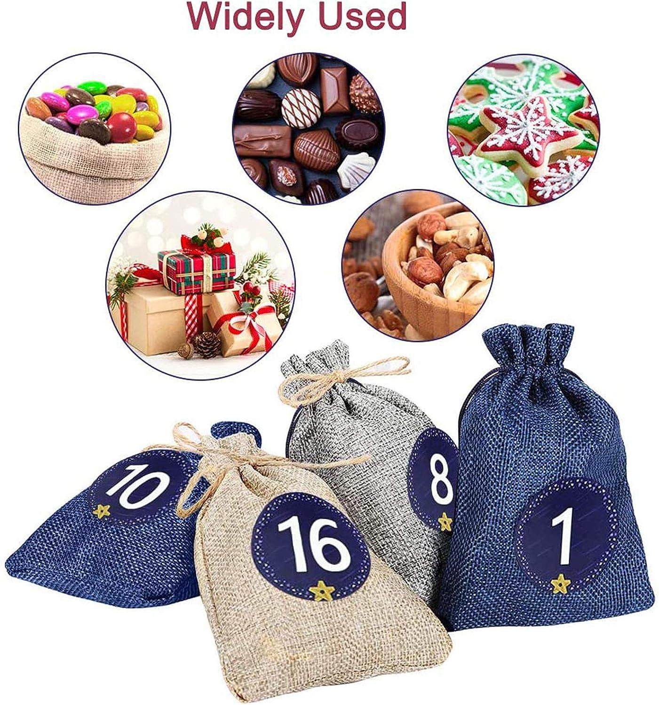 Countdown Burlap Bags set DIY Craft Candy Gift Storage Bag/… Boyigog Advent Calendar 2020 Reusable Christmas Advent Calendar Drawstring Gift Bags with 24 Number Stickers,24 Wooden Clips,10m Hemp Rope