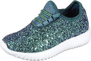 Cambridge Select Women's Closed Toe Glitter Encrusted Lace-Up Casual Sport Fashion Sneaker