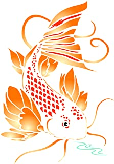 Koi Schablone 11,4 x 16,5 cm (S) - Asiatisch Orientalisch Ka