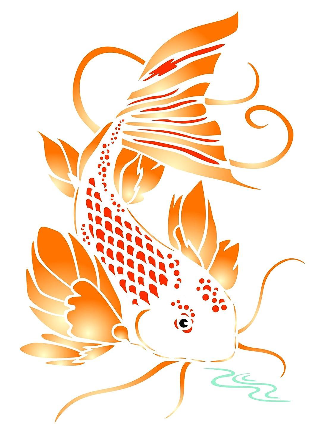 Koi Stencil - 8 x 11.5 inch (L) - Reusable Asian Oriental Carp Fish Animal Pond Wall Stencil Template - Use on Paper Projects Scrapbook Journal Walls Floors Fabric Furniture Glass Wood etc.