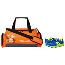 Gowin Bright Blue/Green Size-6 with Triumph Gym Bag Track-1 Kb-3000 Orange/Grey