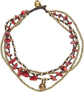 Atraviesa varios cordones religiosos campanas cuelgan encanto pulsera para el tobillo de lat/ón chapado en oro de 18k