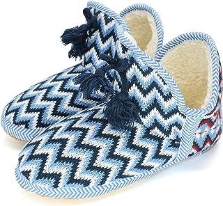 COFACE Coton Bottes Chaussons Femme Chaud Fourrure Doublé Bottines Dames Chaussures de Maison Enfiler Pantoufles Intérieur...