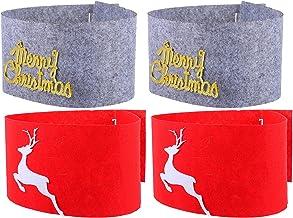TOYANDONA 4Pcs Christmas Tree Collar Non- Woven Xmas Tree Skirt Reindeer Tree Ring Holiday Tree Apron Base Stand Cover Mat...