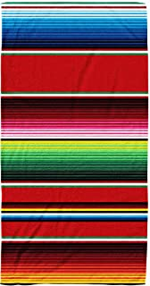 Kids,Baby,Women and Men Beach Towels Blanket Stripes Pattern Background Cinco De Party Decor Ethnic Mexican Fabric Colorful 30x60 Inch Large Pool Towels for Body Bath,Swimming,Travel,Camping,Sport