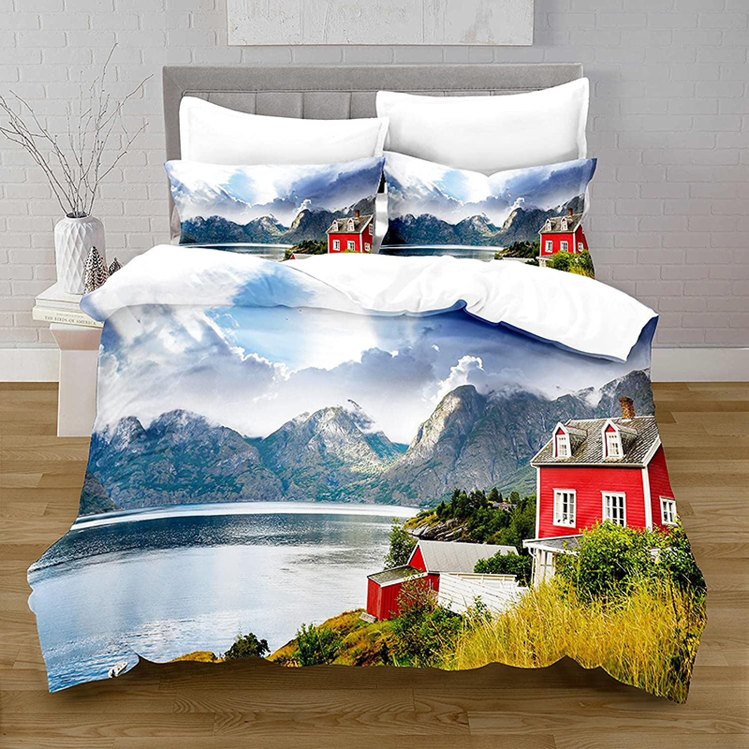 HQHM Duvet Cover Set 3 Limited time for free New product! New type shipping Piece 61X79 Lakes Trees Plants Mountains