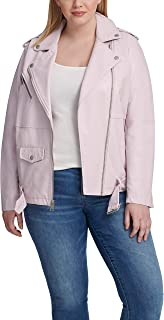 Women's Plus Size Oversized Faux Leather Belted Motorcycle Jacket