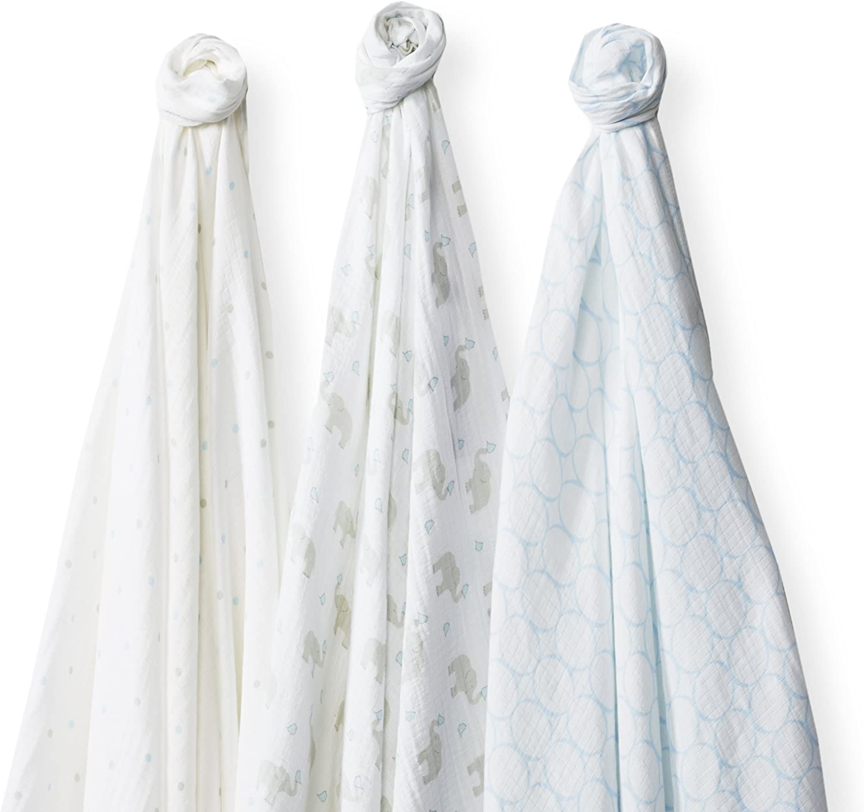 SwaddleDesigns Langes Marquisette, Mousseline de Coton de première qualité, SwaddleLite Set de 3, Éléphant & Poussins, Bleu Pastel Bleu Pastel