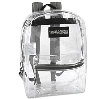Clear Backpack With Reinforced Straps For Security & Sporting Events (Gray)