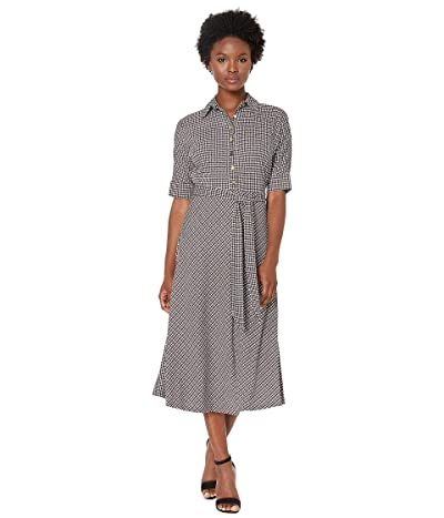 LAUREN Ralph Lauren Petite Houndstooth Matte Jersey Shirtdress (Mascarpone Cream Multi) Women