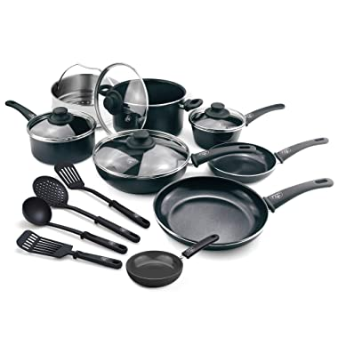 GreenLife CC001922-001 Soft Grip 16 Piece Ceramic Non-Stick Cookware Set, Black