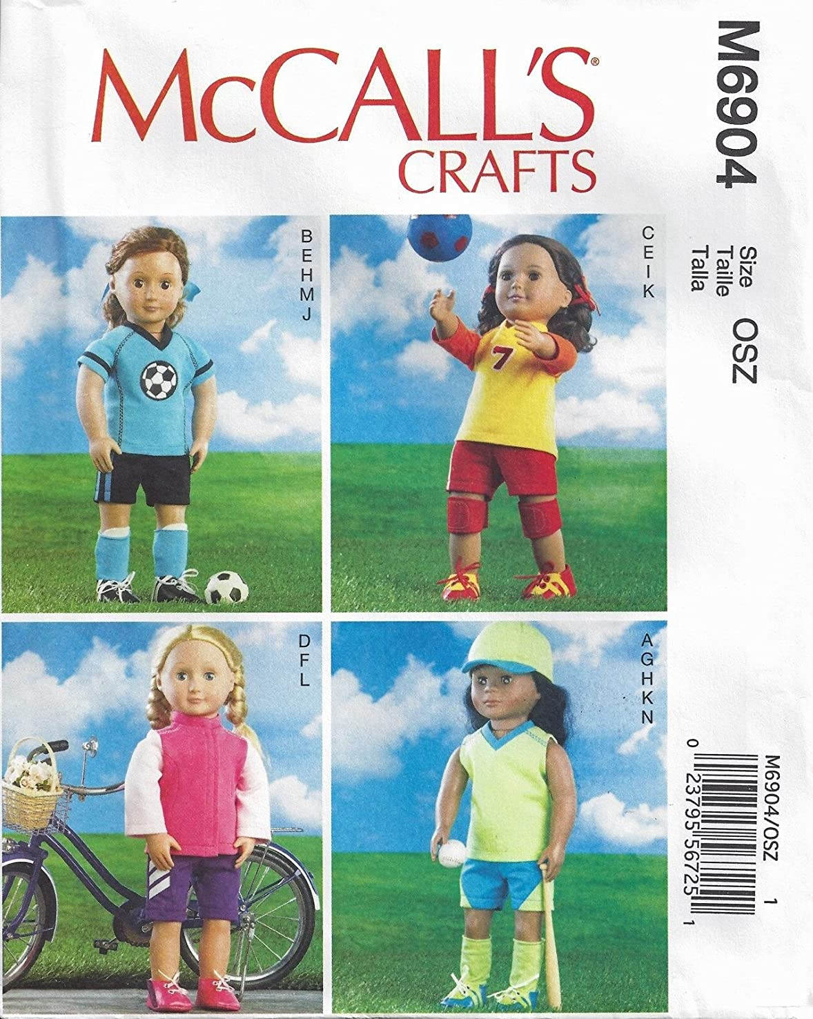 McCall's 6904 18 inch Doll Clothes Pattern American Sports Baseball Soccer supplier_paulastreasuredfinds