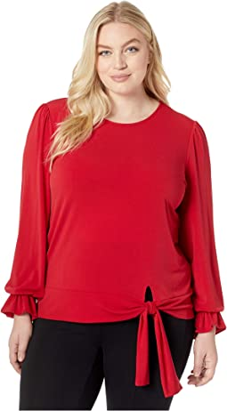 Plus Size Long Sleeve Tie Blouse Top
