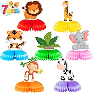 7 Pieces Jungle Animals Centerpieces Safari Wild Animals Honeycomb, Zoo Themed Baby Shower Birthday Party Decorations, Double Sided Table Decor Centerpieces Party Favors, Cake Topper Photo Booth Props Party Gifts