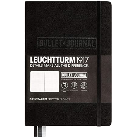 LEUCHTTURM1917 - Official Bullet Journal - Medium A5 - Hardcover Dotted Notebook (Black) - 240 Numbered Pages