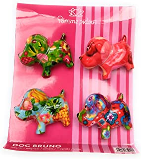 POMME-PIDOU dekoracyjny magnes pies Bruno | XS | ceramika | zestaw 4 magnesów