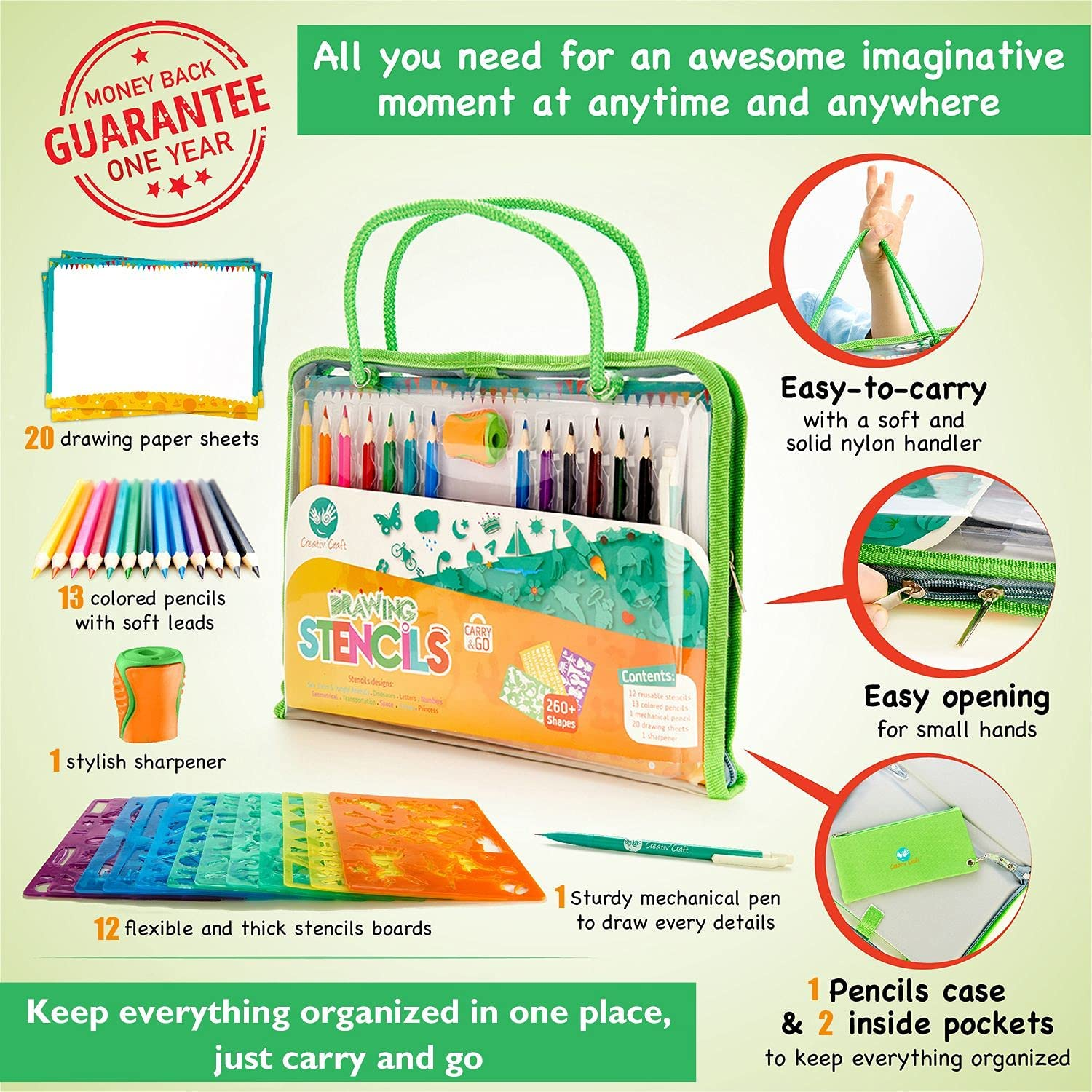 Drawing Stencils for Kids Ages 20 20 And 20+, Unique Dinosaur Stencil Board &  20+ Fun Shapes   All in one Reusable Art Set For Kids Travel Activities    ...